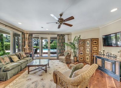 Lower level Family Room with Pool Access at 20 Sandhill Crane