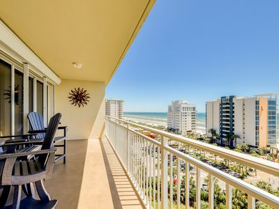 Photo for Beachfront condo w/shared pool, fitness center, & grill - private balcony!