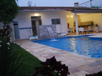 Photo for House with pool, barbecue, fireplace one block from the beach of Centro