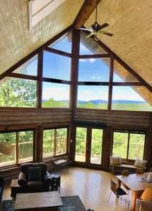 Open living room with Catskill Mountain views