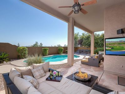 Photo for Lovely home w/pool, firepit, garden patio & great views -1 dog OK