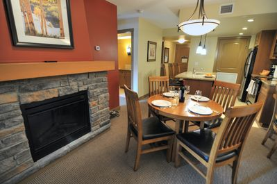 Dining area by the fireplace
