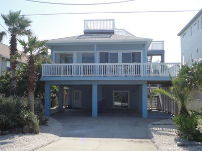 Exterior photo of the front of the beach house facing the ocean