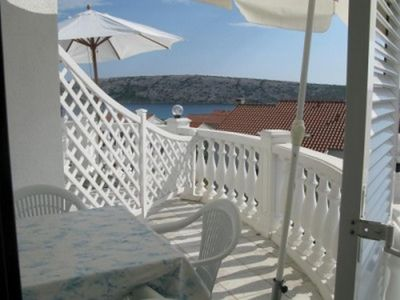 Photo for Studio flat with terrace and sea view Barbat, Rab (AS-16816-d)