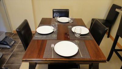For your Dining Pleasure. Leaf Table Extends both Sides to Sit 8 Comfortably.