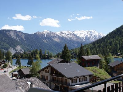 Photo for Apartment for 4 people, free pool access, view of Lake Champex-Lac