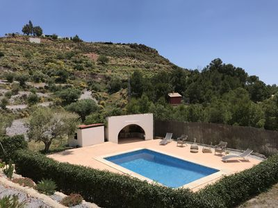 The pool area. View from the house and terrace