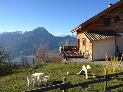 Photo for BIOCLIMATIC CHALET WITH SPLENDID VIEW ON THE LAKE OF SERRE PONCON