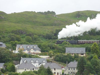 Steaming past. The 'Harry Potter' steam train passe about a mile from the house,
