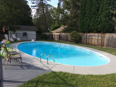 Partial sun and partial shade pool completely fenced in