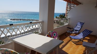 "Photo for Beautiful beach apartment ""Margarita 1"" Playa Velilla, fantastic sea view, 2 pers."