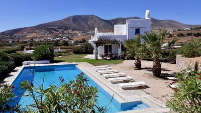 Photo for Paros, Drios Golden Beach: beautiful villa, private pool, unique s / sea views
