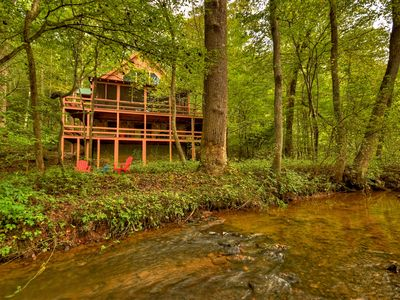 Photo for Beautiful Noisy Creek, Game Room, Hot Tub, etc &1.5 miles to downtown Blue Ridge
