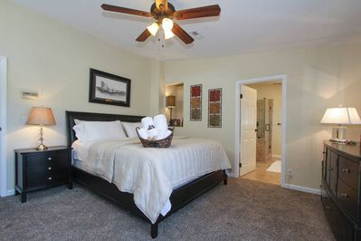Master bedroom with King size bed and terrace on the 2nd floor