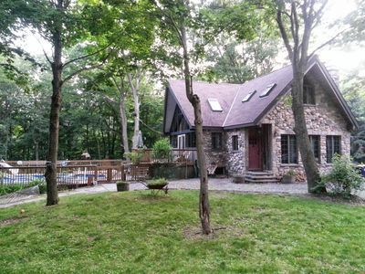 Photo for Charming Stone Chalet in Wooded Surroundings with Heated Pool