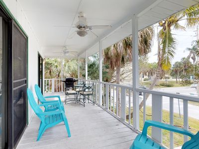 Photo for Dog-friendly condo w/ beautiful upstairs deck and grill, steps from the beach