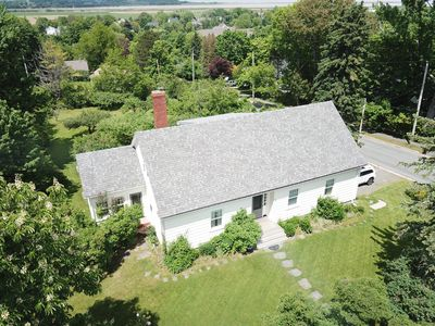 Arial view of the front of the house.