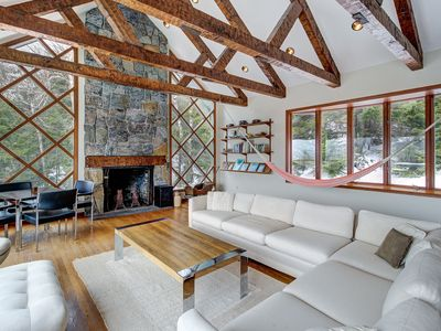 Photo for NEW LISTING! Lovely lodge w/sauna, deck & amazing mountain views - near trails