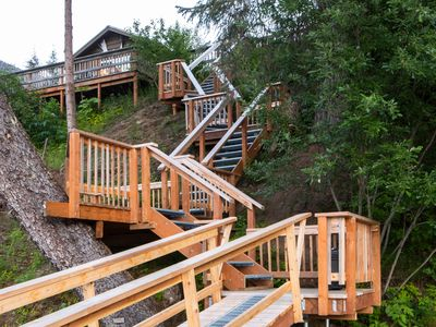 Photo for Swan View Cabin, lakefront, canoe, BBQ, mountain views, wildlife, full kitchen