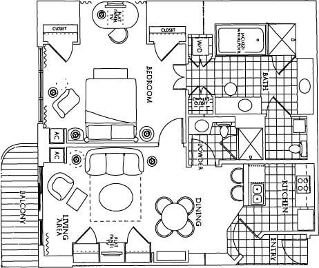 1 Bedroom Floor Plan. Signature MGM 1 BR Balcony Suite   From  9      VRBO