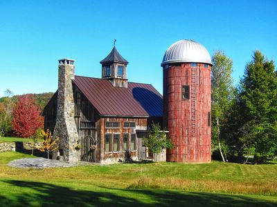Photo for Custom timber frame Barn & Silo home, 250 acres, Treehouse, 15 min to Stowe.