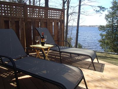 Lounge chairs on new deck ,perfect to relax with local wine