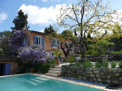 Photo for Authentic Provencal farmhouse in lush greenery. Panoramic view. Very calm