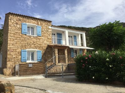 Photo for Corsican house in stones of size with swimming pool and view on Gulf of Cupabia