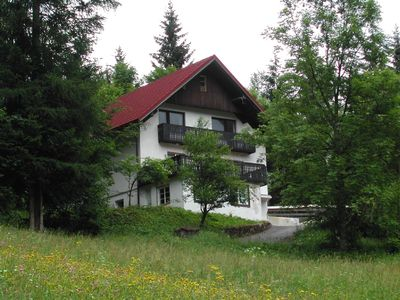 View of chalet from the road (accommodation on middle floor, other floors unused