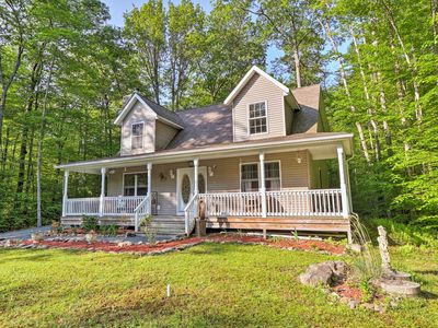 Photo for Secluded Pocono Lake House w/Large Deck & Fire Pit