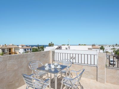 """Photo for Charming Apartment """"Juan 2"""" close to the Beach with Sea View, Wi-Fi, Air Conditioning & Roof Terrace; Parking Available"""