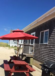 Picnic Table, Umbrella and Grill on Patio