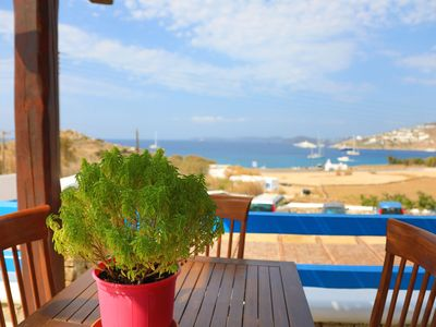 Photo for Maganos Tria: Panoramic sea views, shared pool, breakfast included