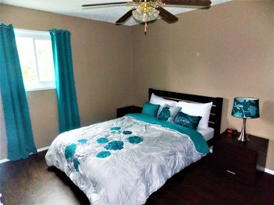 Master bed with attached bath. Queen bed with memory foam mattress
