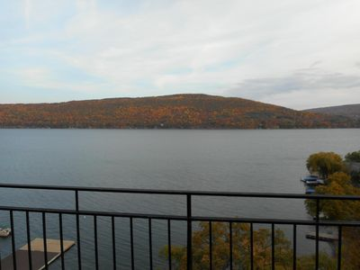 The breathtaking views of Canandaigua Lake right from our balcony!