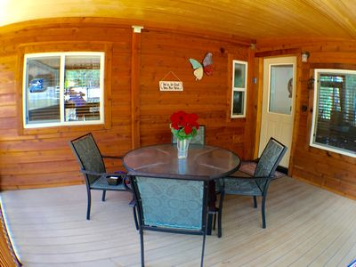 Front deck is perfect for entertaining and breathing in the mountain air.