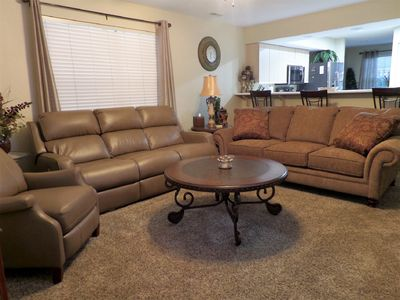 All New Furnishings. 55 inch TV, recliner, recliner sofa, sofa sleeper, and more