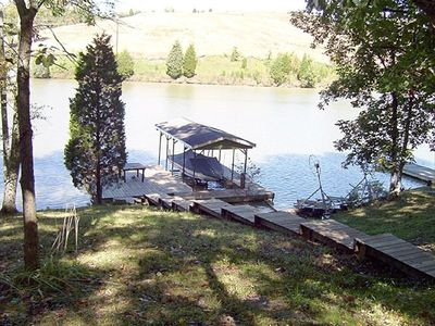 Your Dock and your own lake frontage.  Within 60' of the Cottage. Walk down step