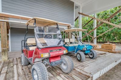 Two golf carts are provided with your stay