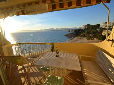 Photo for Sorolla: Spectacular view on the beach-Well equipped- Wifi and AC included- close to Salou's centre