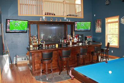 Large Bar with 2 Flat Screen TV's and Pool Table