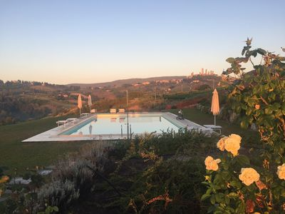 Photo for 2 bedrooms, large pool, stunning views of San Gimignano, Tuscany, private garden