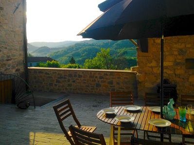 Dine al fresco in the spacious courtyard - and take in the lovely vista!