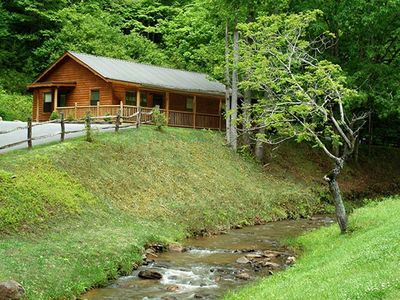 Photo for Log Cabin with Creekside Covered Porch & Outdor Hot Tub!