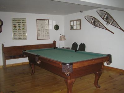 Pool table downstairs in the playroom