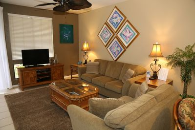 Living Room with Flat Panel TV and Blue Ray DVD Player.