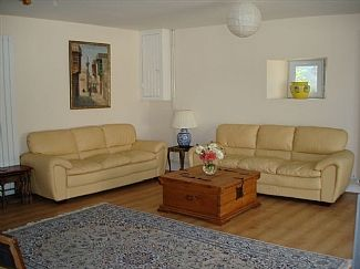 Spacious living room. with satellite TV, DVD player and BlueTooth speaker