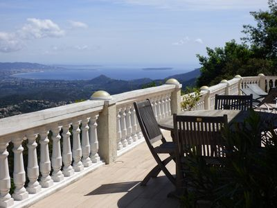Photo for Real panorama, splendid sea view bay of Cannes, pool services possible ...