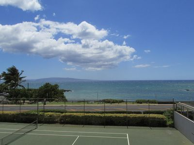 view of tennis courts and Cove from unit 215