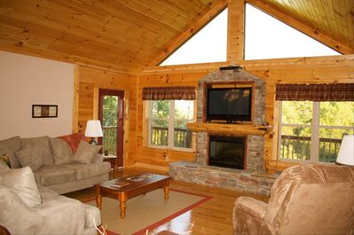 Living Room with Amazing View of the Great Smoky Mountains.